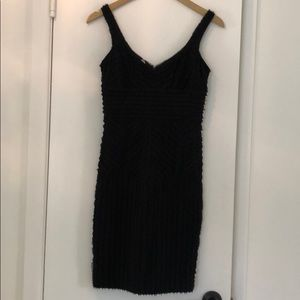 Black Cocktail Dress with crepe detail